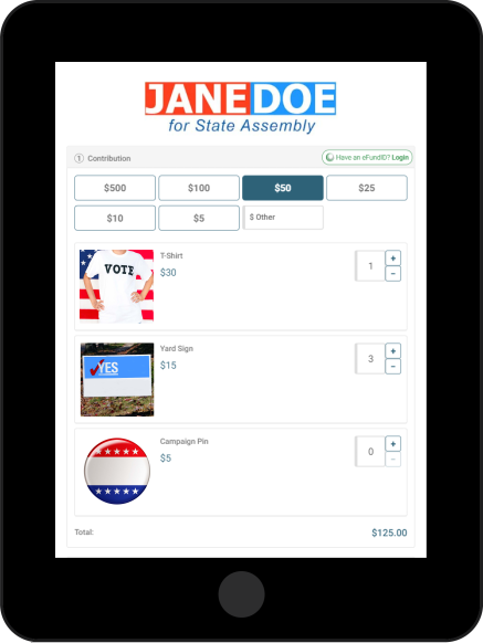 iPad showing eFund's campaign merchandise feature for donation pages
