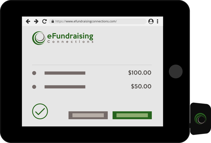 iPad with https:// prefix in browser bar showing eFundraising connections is secure payment contribution platform